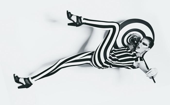 model in stripe clothing