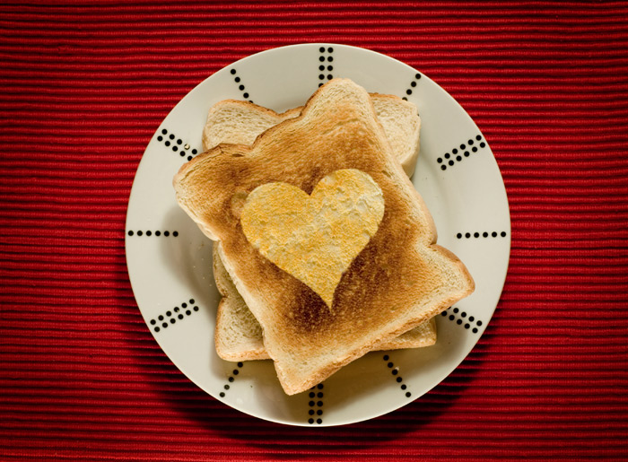 toast with heart in center