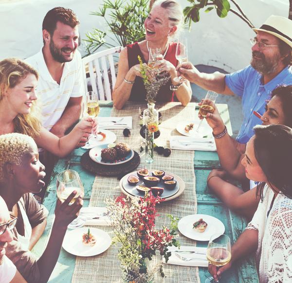 Friends gathering talking