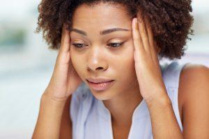 Depressed looking black woman