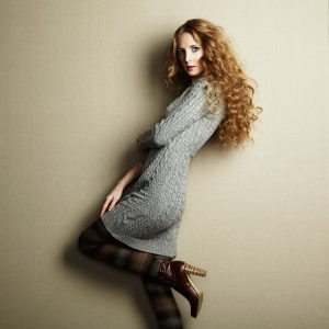woman in knitted sweater dress