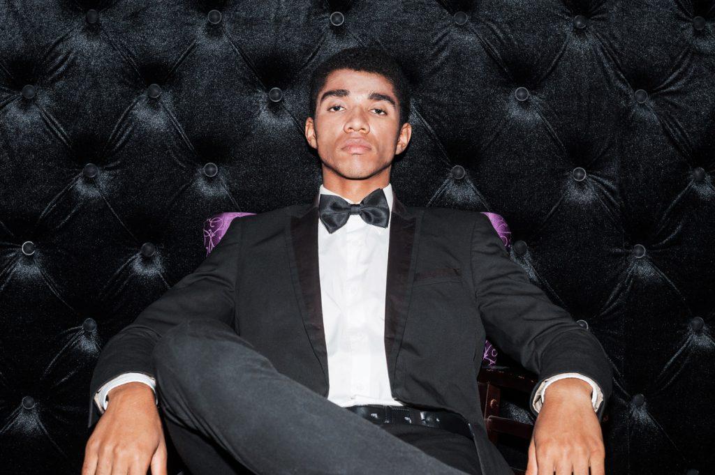 Black man in tuxedo