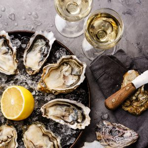 oysters and wine plate