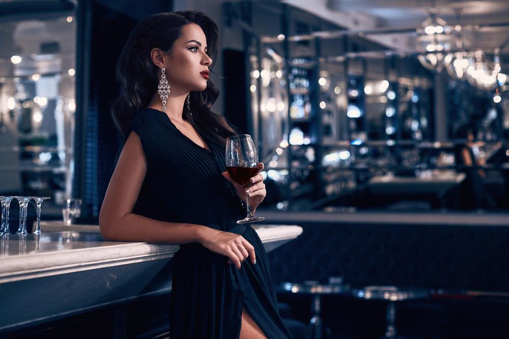 beautiful woman wine