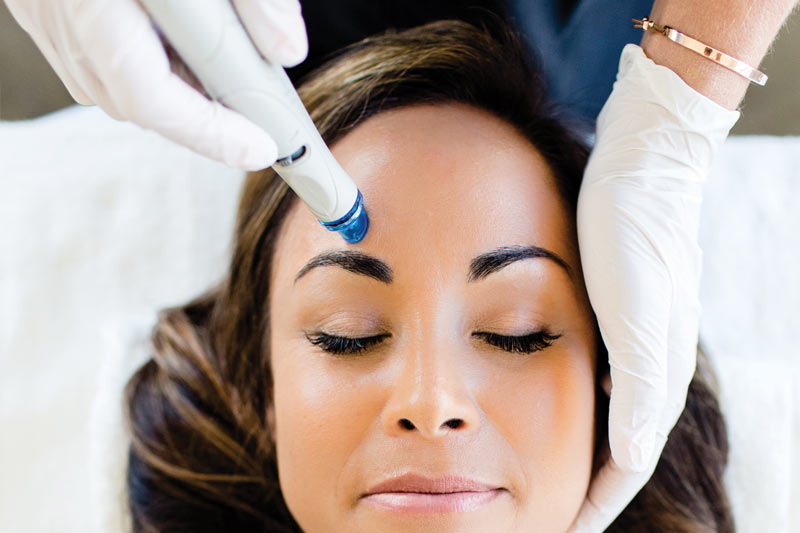 receiving a hydrafacial