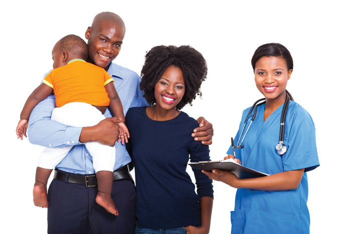 African american doctor and family