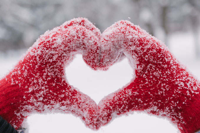 Valentines Day Mittens with Snow